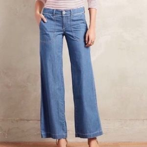 NWT Anthropologie Pilcro Chambray Wide Leg Jeans